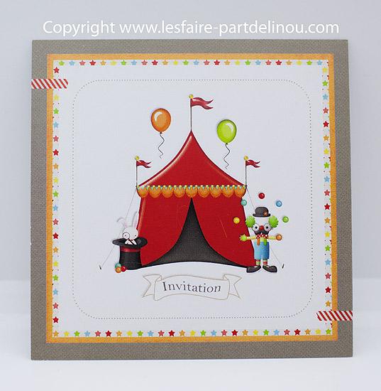 "Carte invitation anniversaire ""Cirque"" - e-Lokireg"